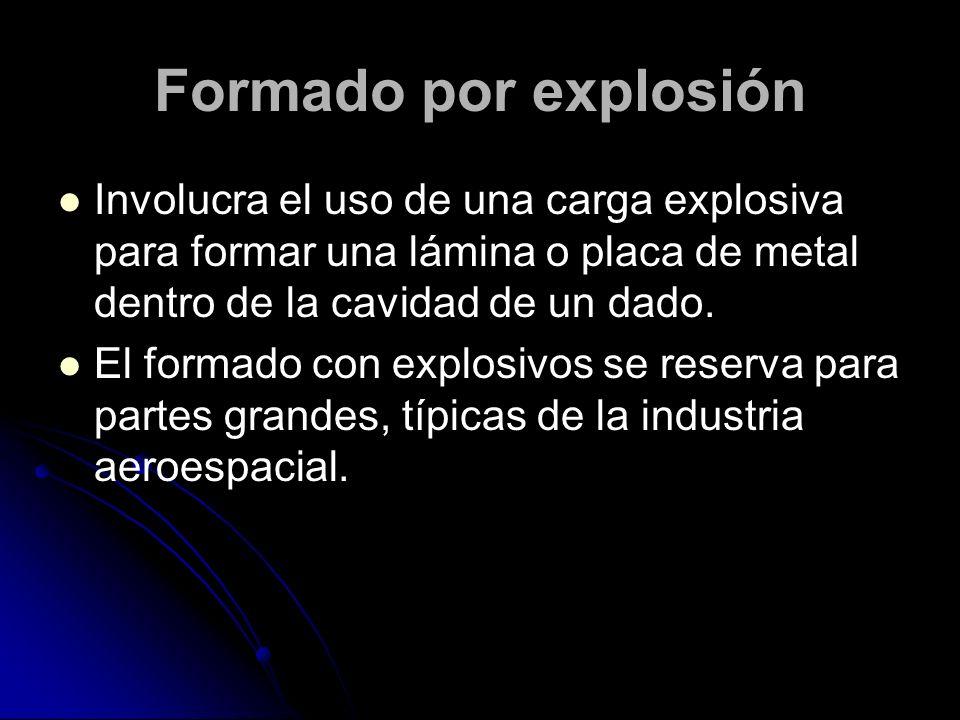 Formado por explosión Involucra el uso de una carga explosiva para formar una lámina o placa de metal dentro de la cavidad de un dado.