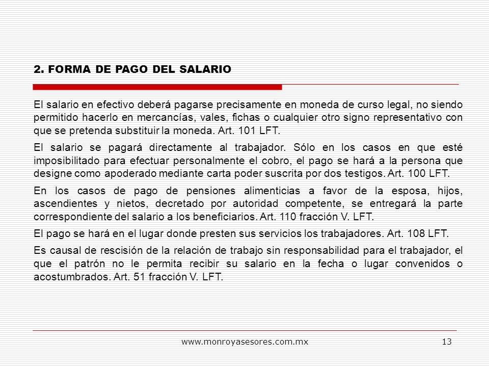 2. FORMA DE PAGO DEL SALARIO