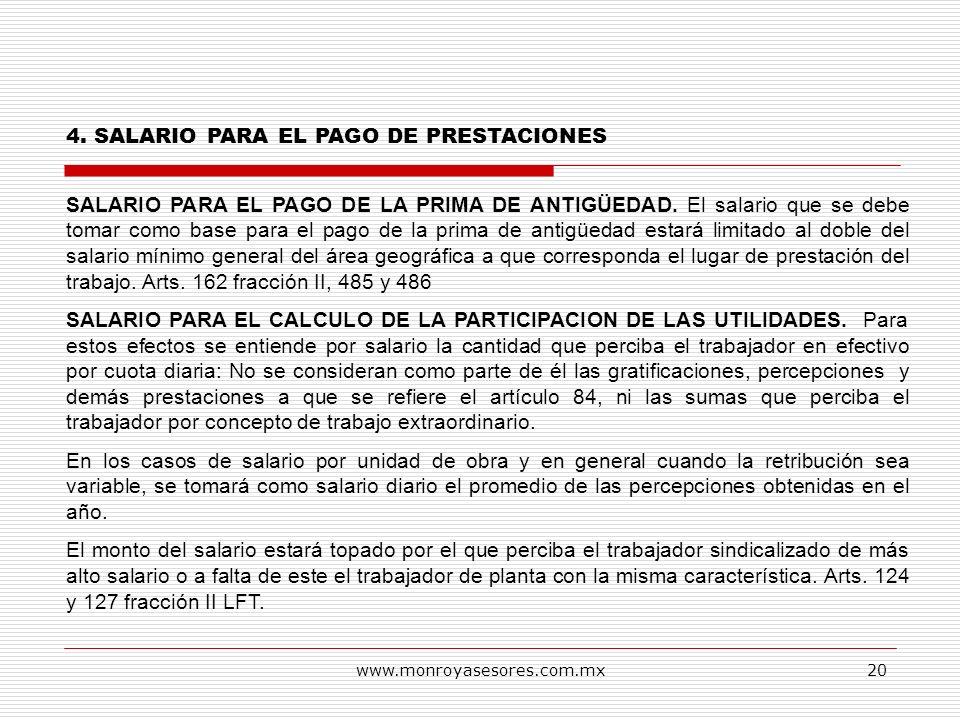 4. SALARIO PARA EL PAGO DE PRESTACIONES