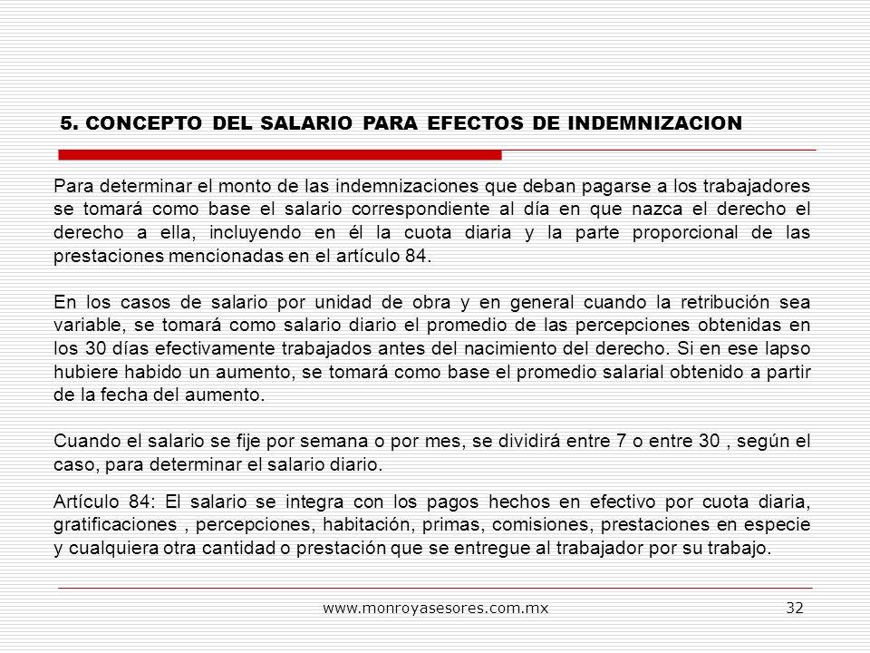 5. CONCEPTO DEL SALARIO PARA EFECTOS DE INDEMNIZACION