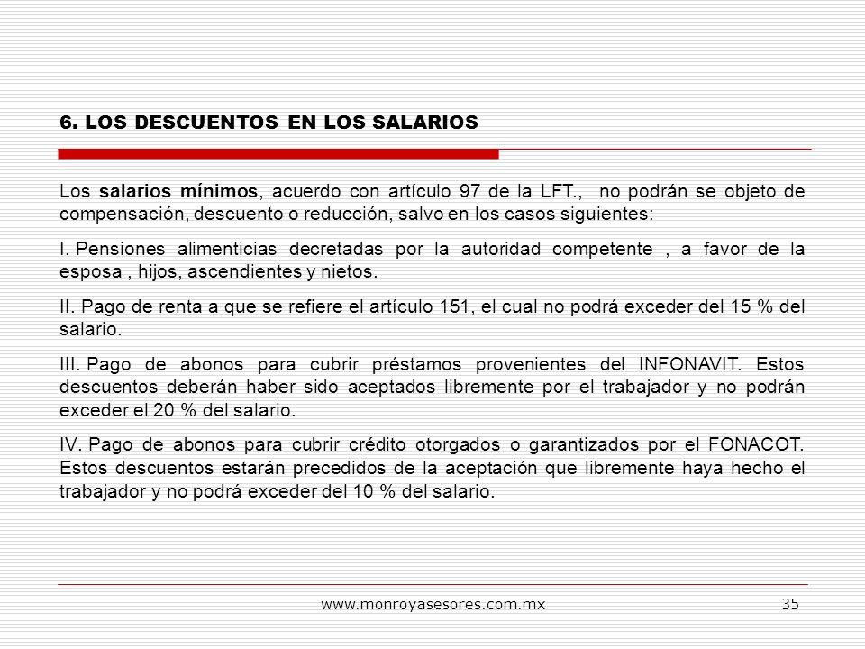 6. LOS DESCUENTOS EN LOS SALARIOS
