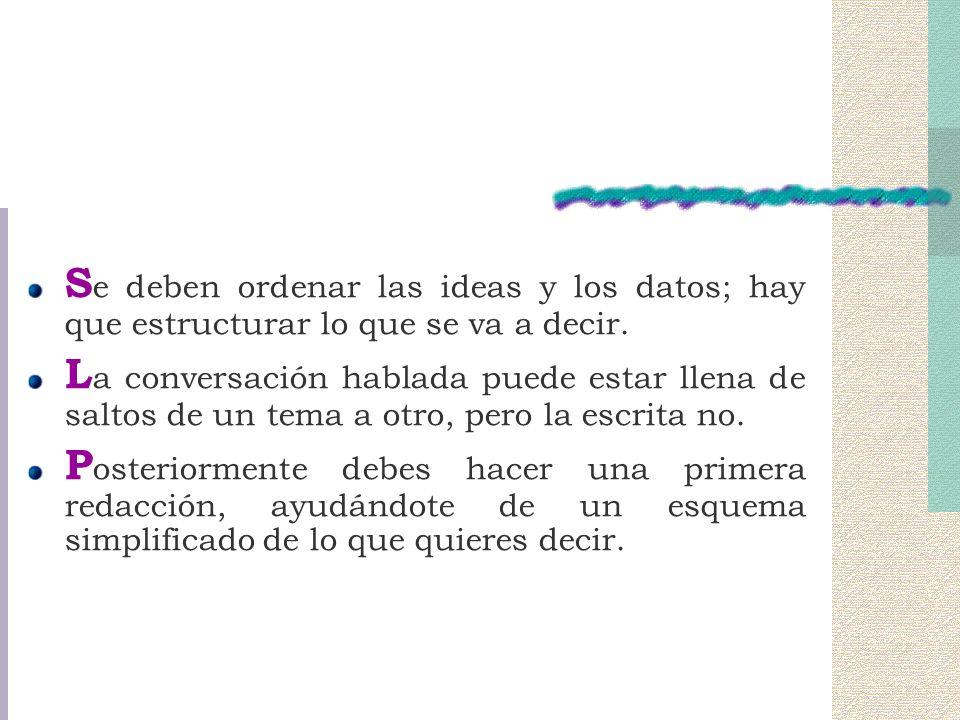 Se deben ordenar las ideas y los datos; hay que estructurar lo que se va a decir.