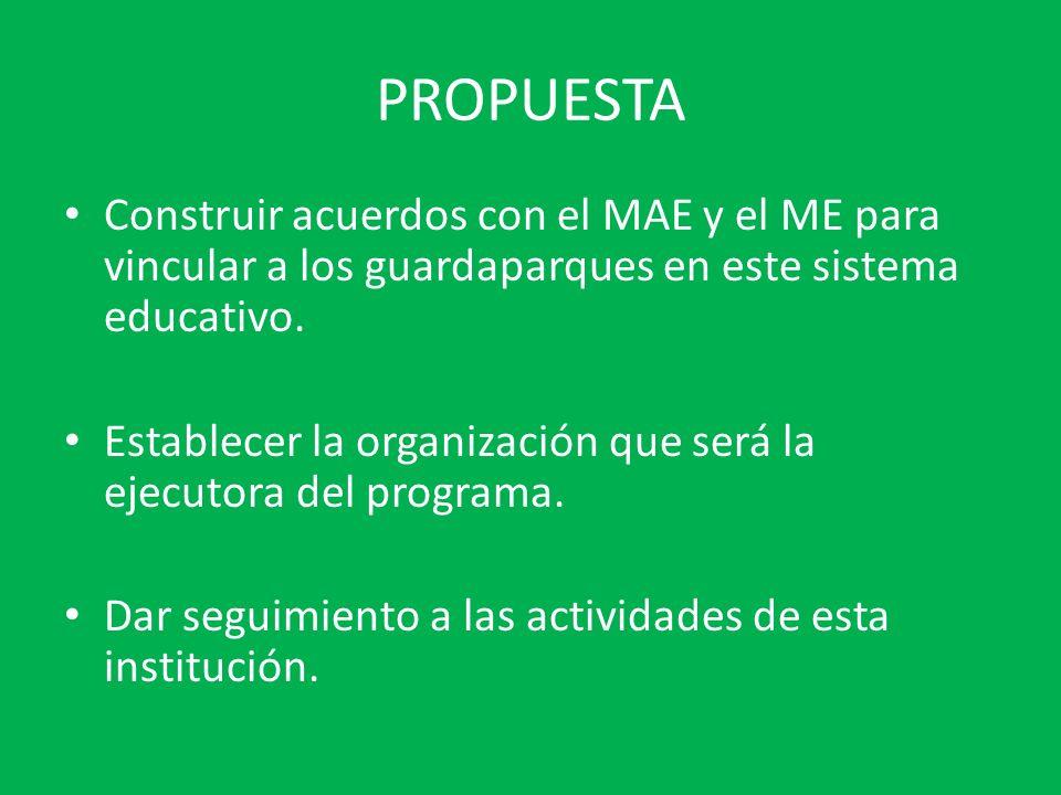 PROPUESTA Construir acuerdos con el MAE y el ME para vincular a los guardaparques en este sistema educativo.