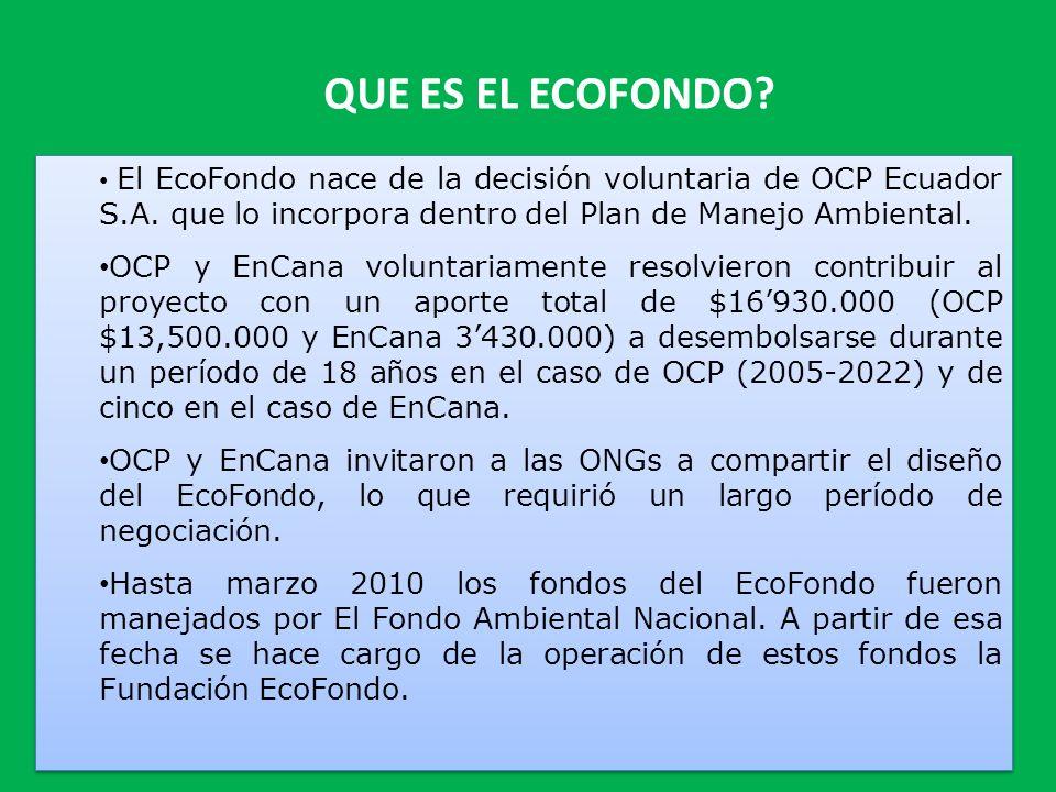 QUE ES EL ECOFONDO El EcoFondo nace de la decisión voluntaria de OCP Ecuador S.A. que lo incorpora dentro del Plan de Manejo Ambiental.