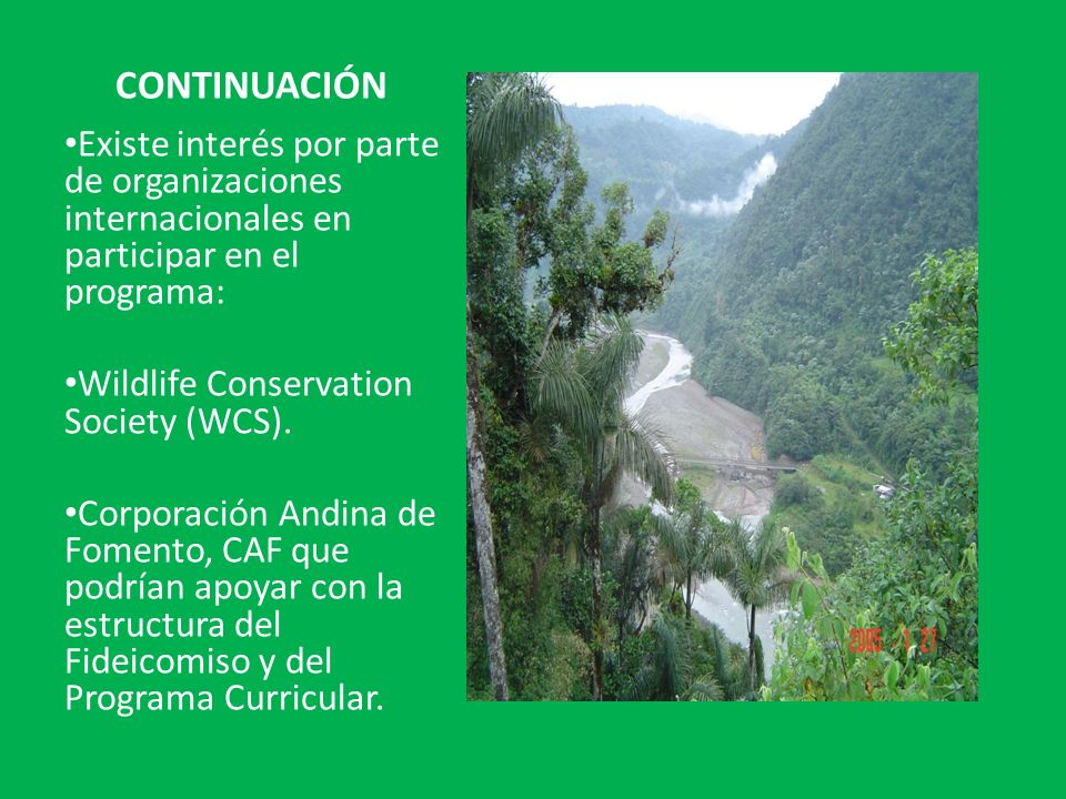 CONTINUACIÓN Existe interés por parte de organizaciones internacionales en participar en el programa: