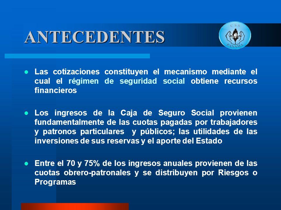 ANTECEDENTES Las cotizaciones constituyen el mecanismo mediante el cual el régimen de seguridad social obtiene recursos financieros.
