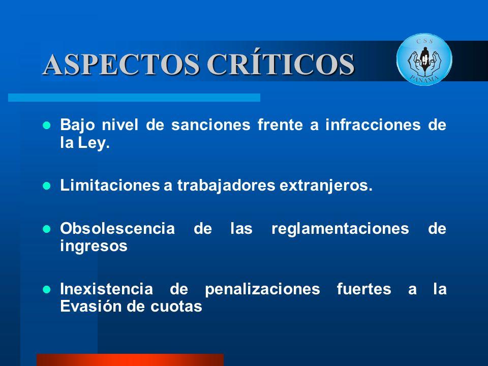 ASPECTOS CRÍTICOS Bajo nivel de sanciones frente a infracciones de la Ley. Limitaciones a trabajadores extranjeros.