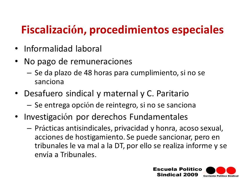 Fiscalización, procedimientos especiales