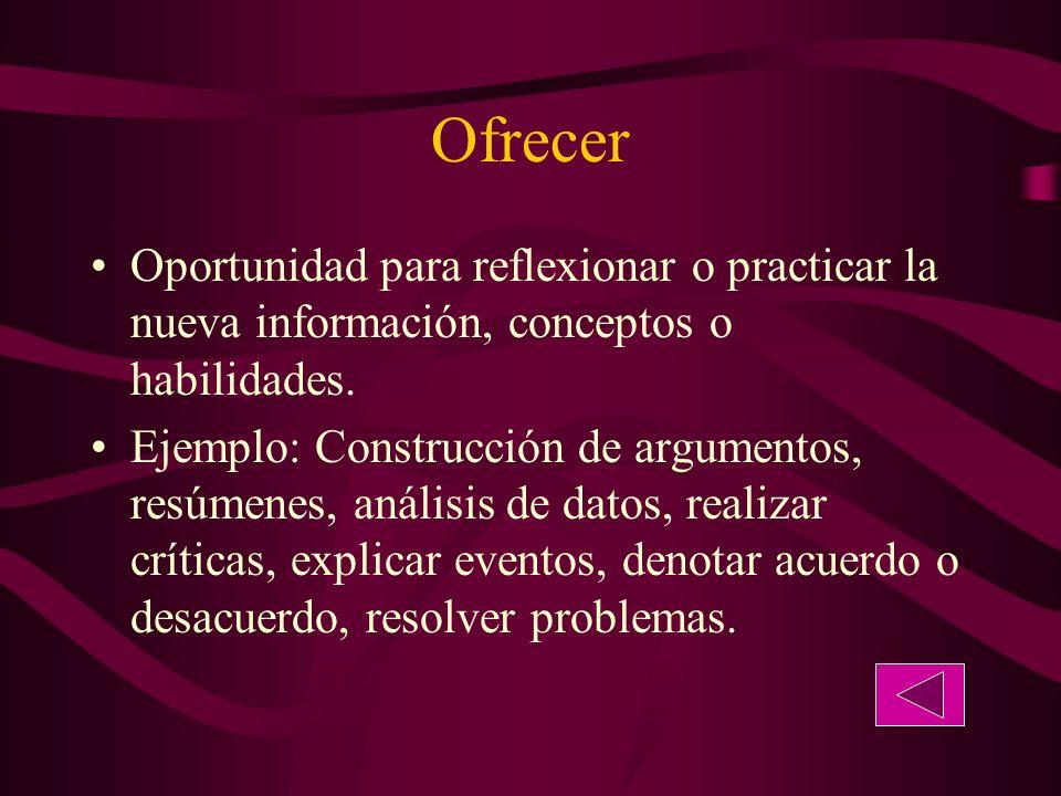 Ofrecer Oportunidad para reflexionar o practicar la nueva información, conceptos o habilidades.
