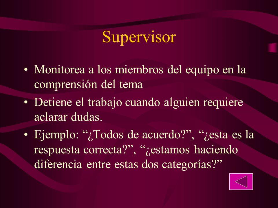 Supervisor Monitorea a los miembros del equipo en la comprensión del tema. Detiene el trabajo cuando alguien requiere aclarar dudas.