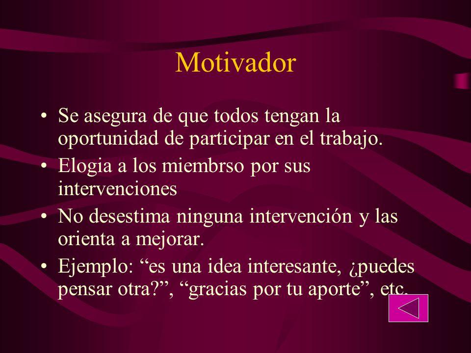 Motivador Se asegura de que todos tengan la oportunidad de participar en el trabajo. Elogia a los miembrso por sus intervenciones.