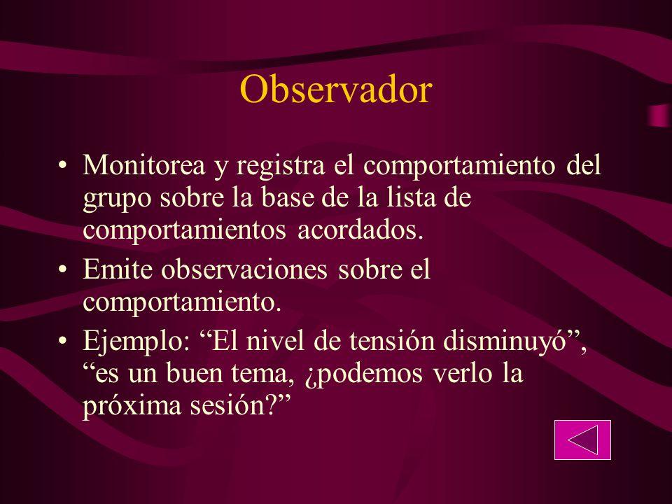 Observador Monitorea y registra el comportamiento del grupo sobre la base de la lista de comportamientos acordados.