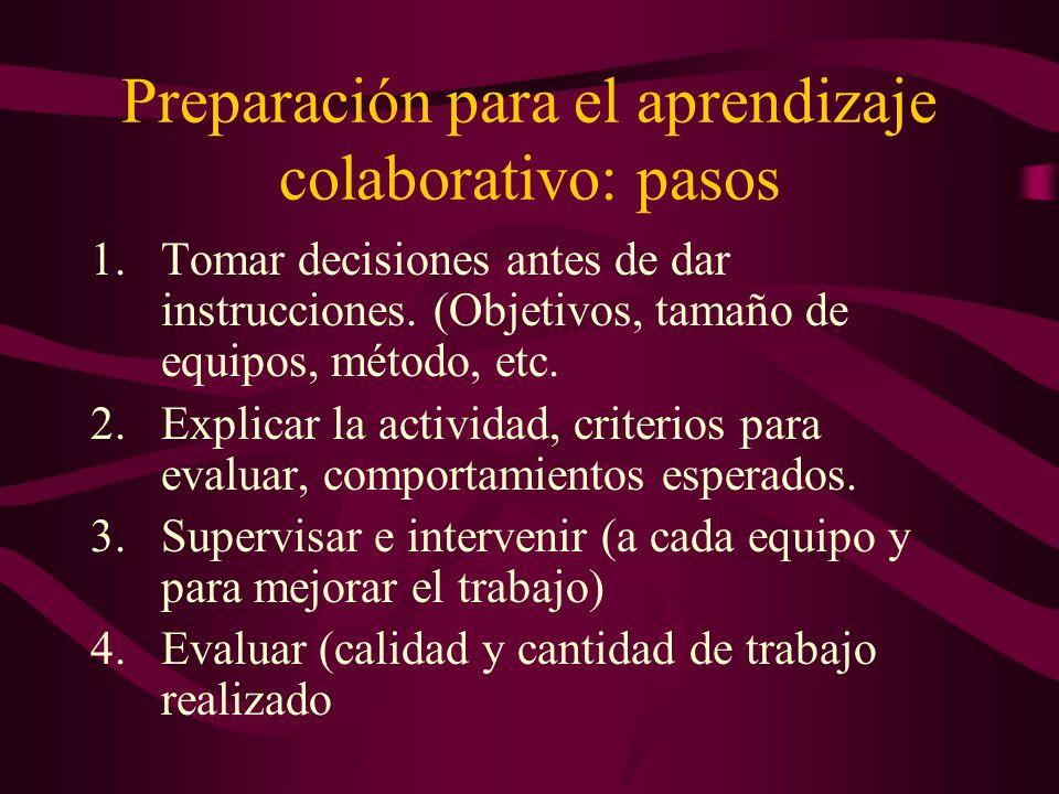 Preparación para el aprendizaje colaborativo: pasos