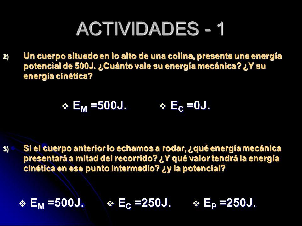 ACTIVIDADES - 1 EM =500J. EC =0J. EM =500J. EC =250J. EP =250J.