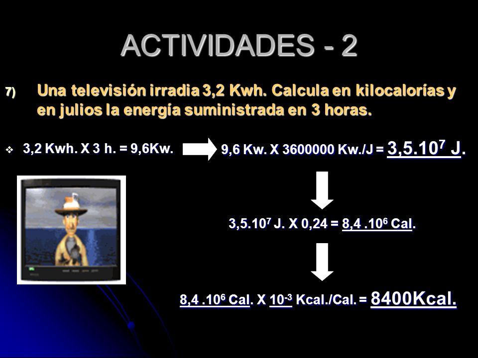 ACTIVIDADES - 2 Una televisión irradia 3,2 Kwh. Calcula en kilocalorías y en julios la energía suministrada en 3 horas.