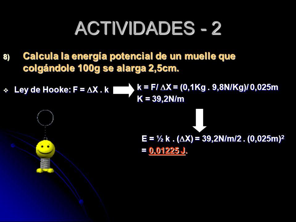 ACTIVIDADES - 2 Calcula la energía potencial de un muelle que colgándole 100g se alarga 2,5cm. k = F/ DX = (0,1Kg . 9,8N/Kg)/ 0,025m.