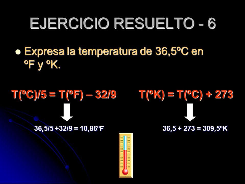 EJERCICIO RESUELTO - 6 Expresa la temperatura de 36,5ºC en ºF y ºK.