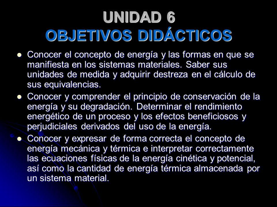 UNIDAD 6 OBJETIVOS DIDÁCTICOS