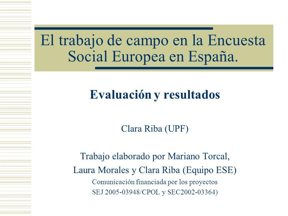 El trabajo de campo en la Encuesta Social Europea en España.