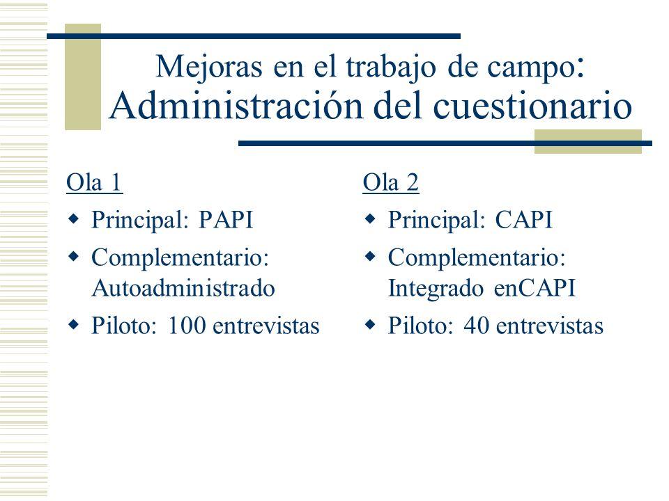 Mejoras en el trabajo de campo: Administración del cuestionario