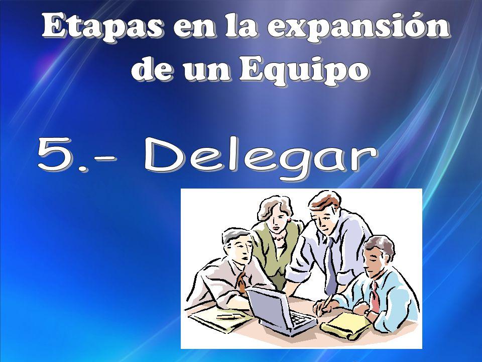 Etapas en la expansión de un Equipo 5.- Delegar