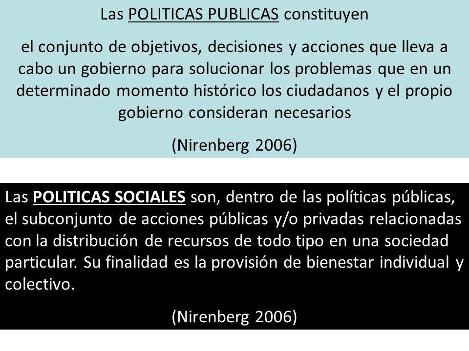 Las POLITICAS PUBLICAS constituyen
