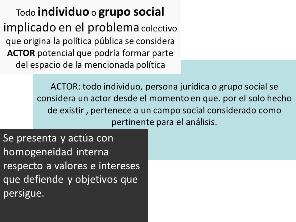 Todo individuo o grupo social implicado en el problema colectivo que origina la política pública se considera ACTOR potencial que podría formar parte del espacio de la mencionada política