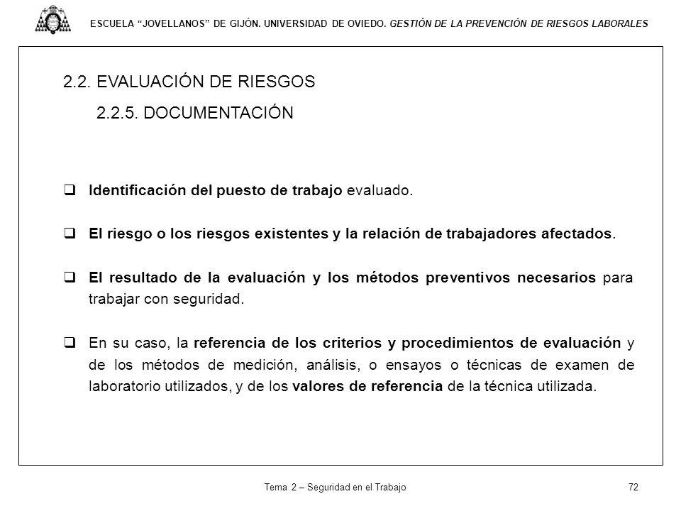 Tema 2 – Seguridad en el Trabajo 72
