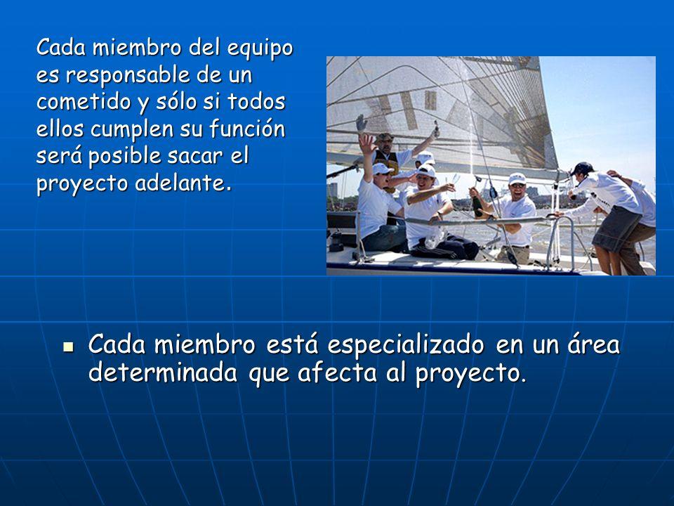 Cada miembro del equipo es responsable de un cometido y sólo si todos ellos cumplen su función será posible sacar el proyecto adelante.