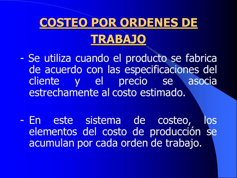 COSTEO POR ORDENES DE TRABAJO