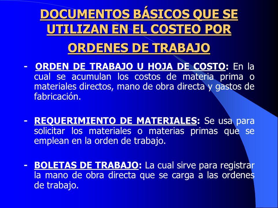 DOCUMENTOS BÁSICOS QUE SE UTILIZAN EN EL COSTEO POR ORDENES DE TRABAJO