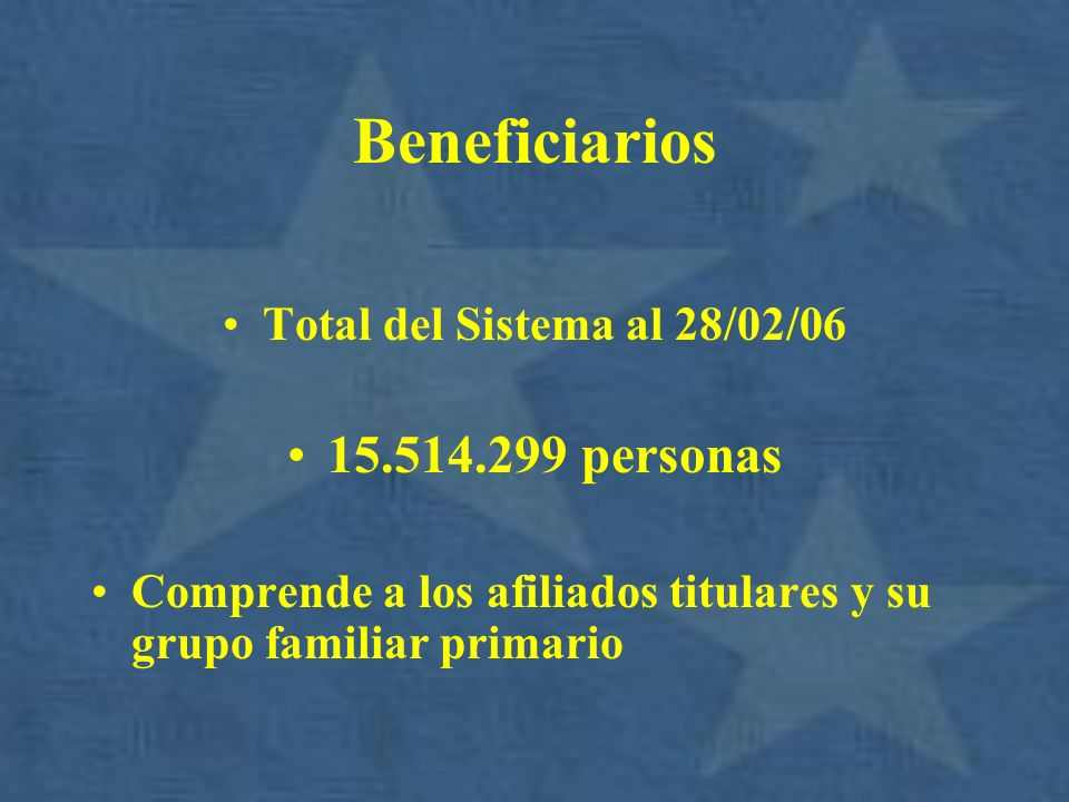 Beneficiarios 15.514.299 personas Total del Sistema al 28/02/06