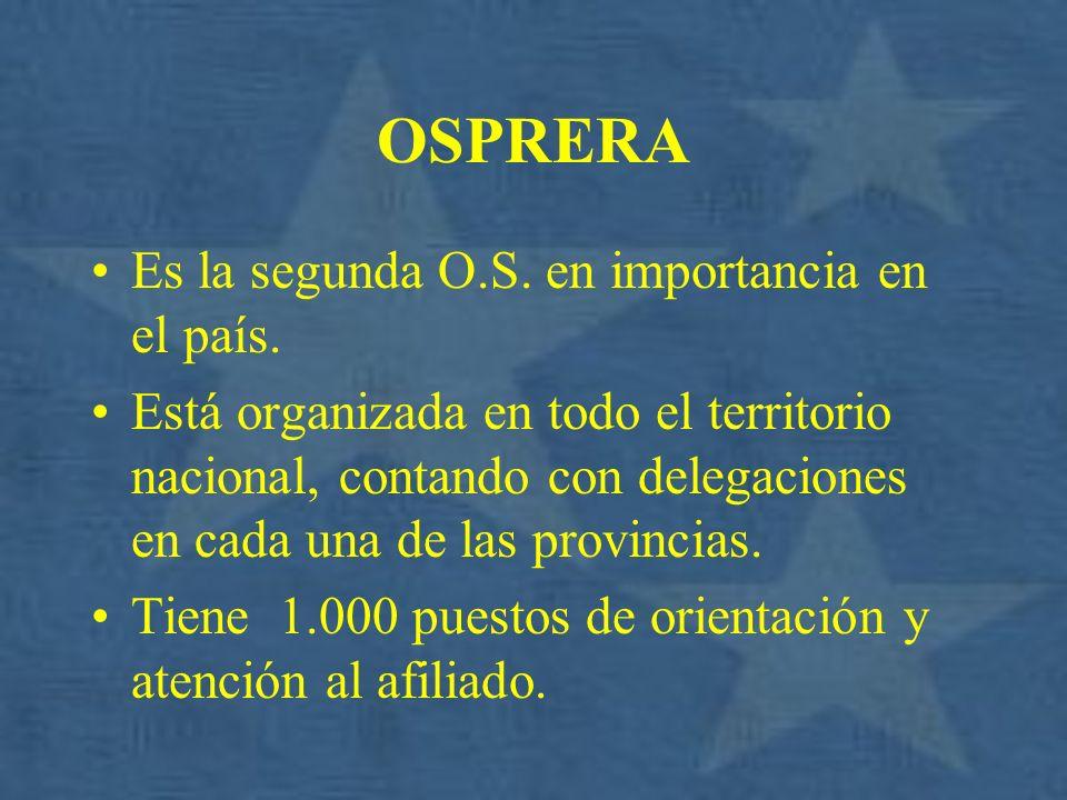OSPRERA Es la segunda O.S. en importancia en el país.