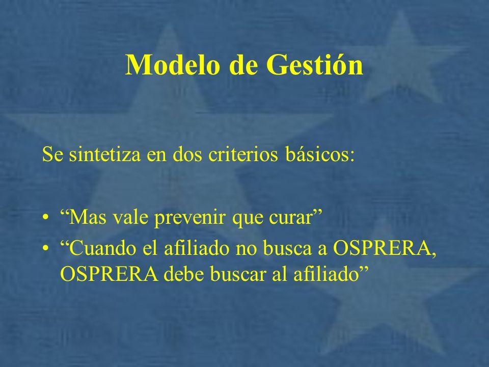 Modelo de Gestión Se sintetiza en dos criterios básicos: