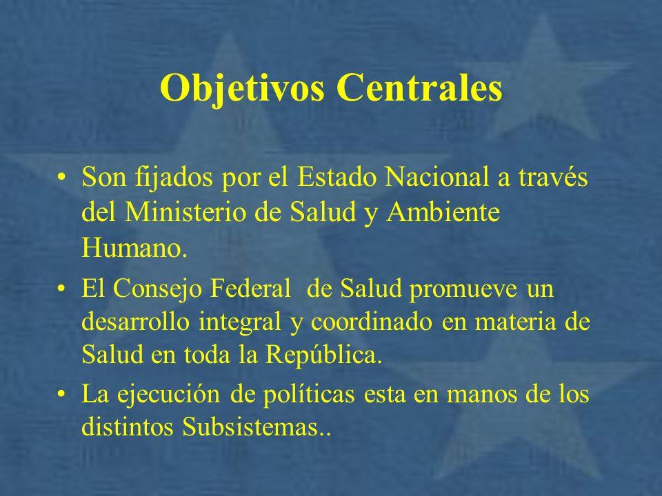 Objetivos Centrales Son fijados por el Estado Nacional a través del Ministerio de Salud y Ambiente Humano.