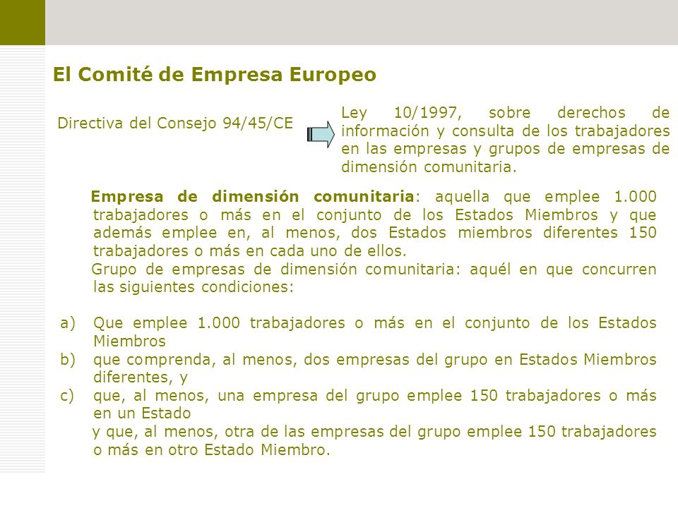 El Comité de Empresa Europeo