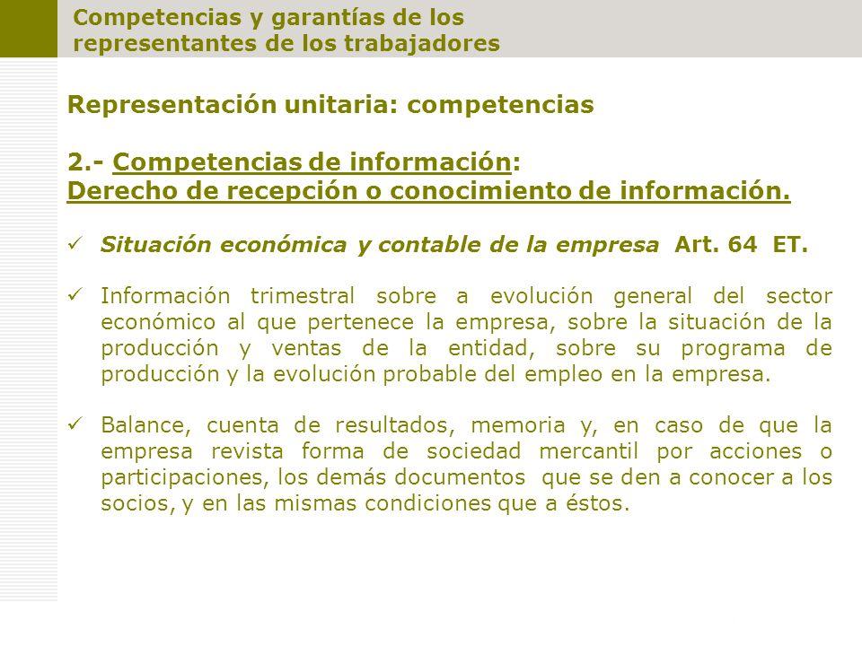 Representación unitaria: competencias 2.- Competencias de información: