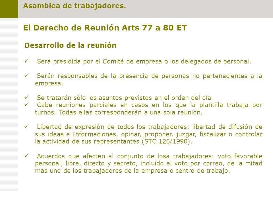 El Derecho de Reunión Arts 77 a 80 ET