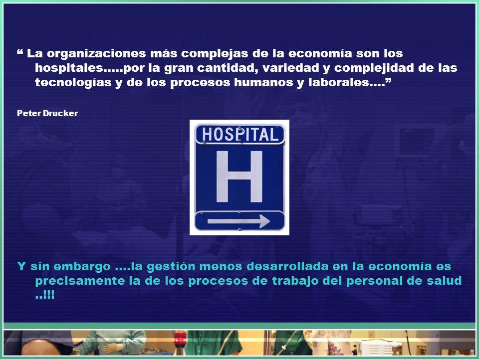 La organizaciones más complejas de la economía son los hospitales…
