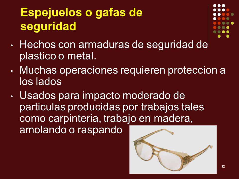 Espejuelos o gafas de seguridad