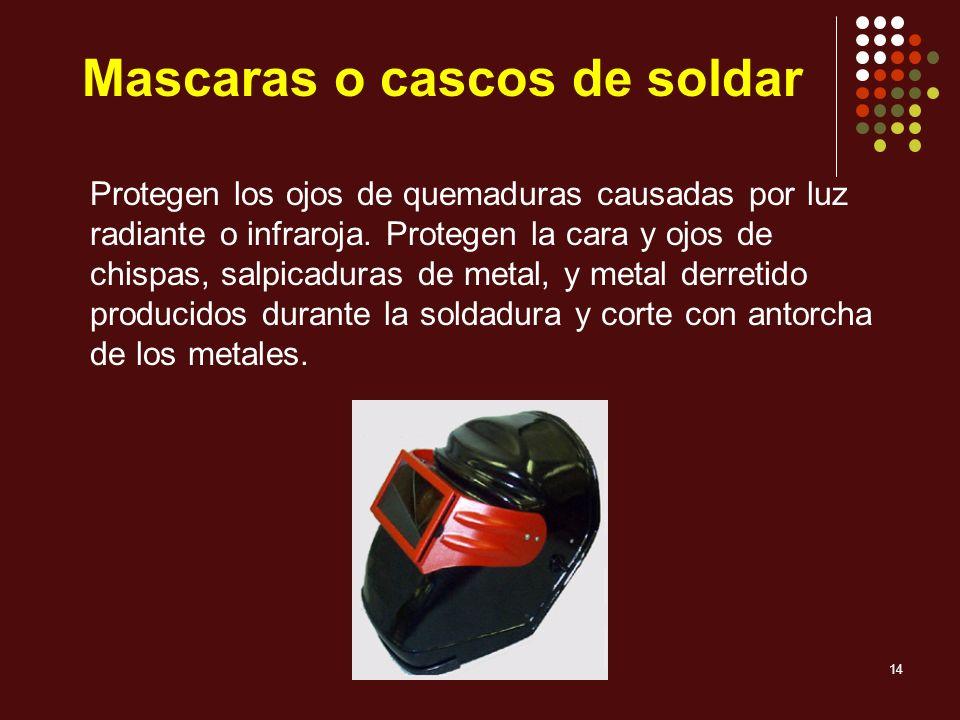 Mascaras o cascos de soldar