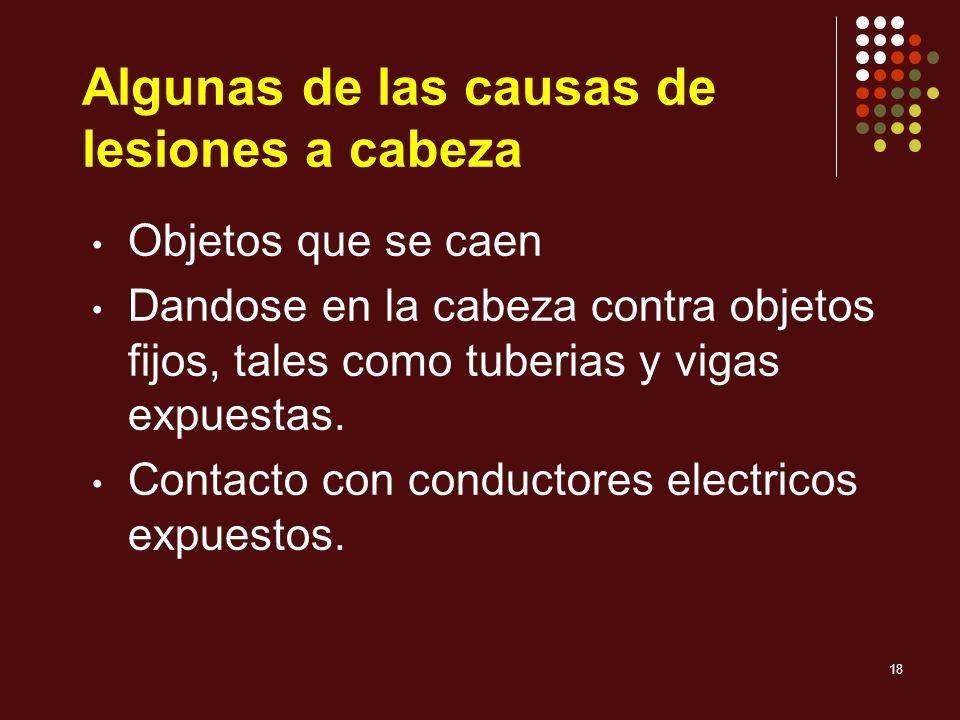 Algunas de las causas de lesiones a cabeza