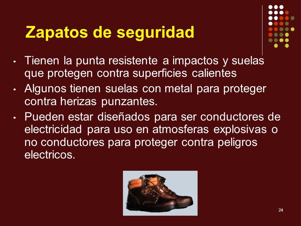 Zapatos de seguridad Tienen la punta resistente a impactos y suelas que protegen contra superficies calientes.