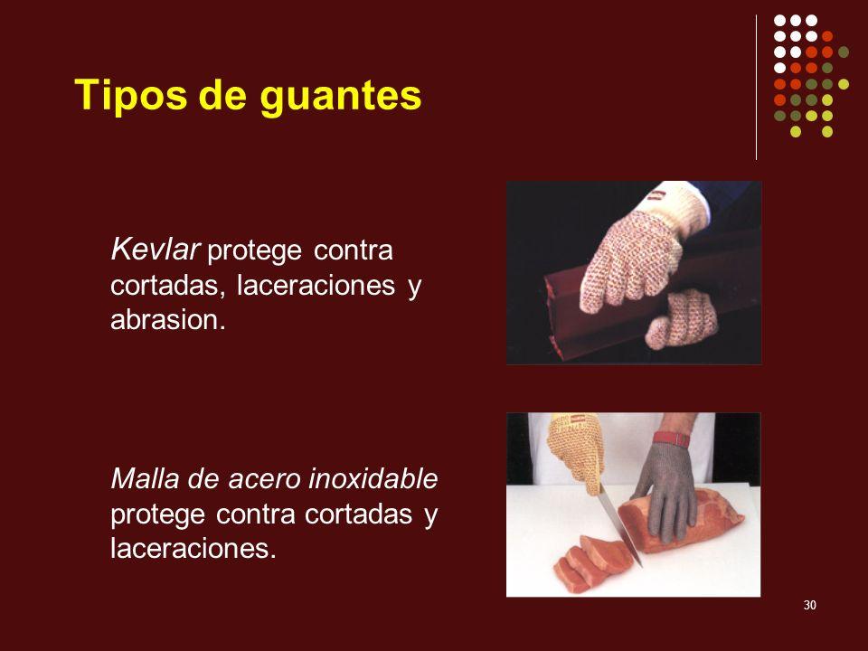 Tipos de guantes Kevlar protege contra cortadas, laceraciones y abrasion.