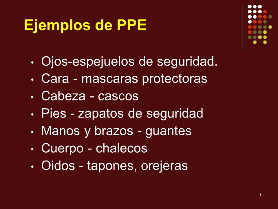 Ejemplos de PPE Ojos-espejuelos de seguridad.