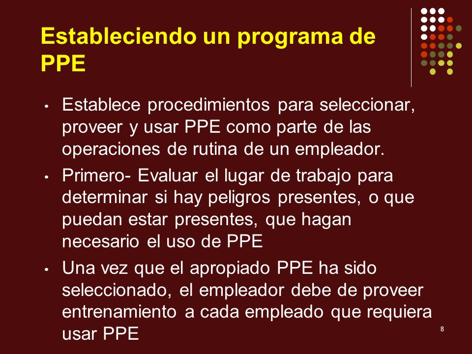 Estableciendo un programa de PPE