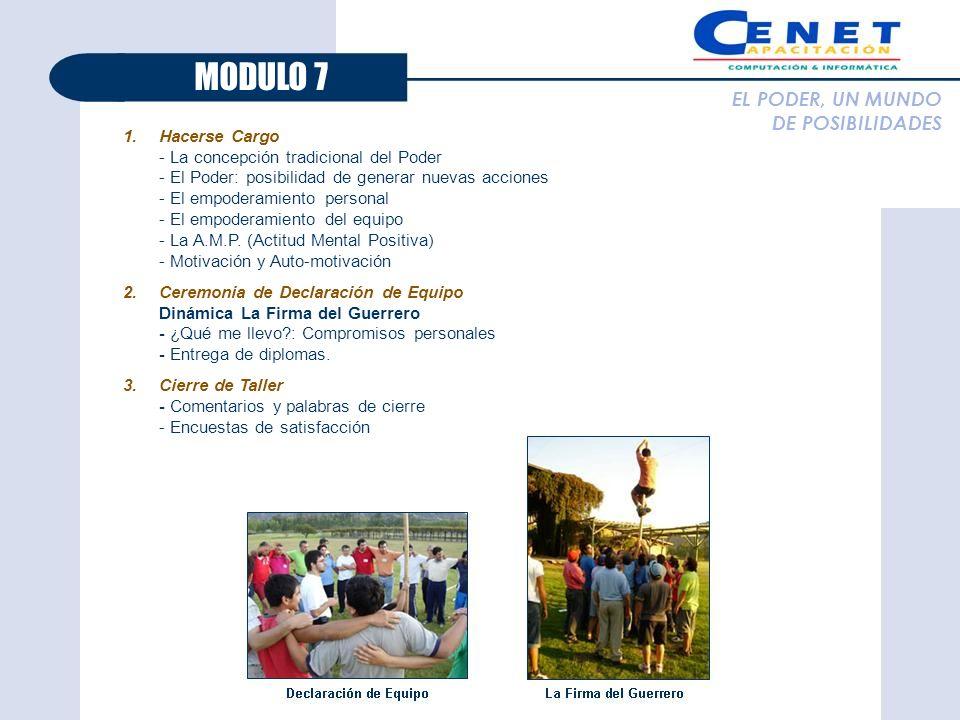 MODULO 7 EL PODER, UN MUNDO DE POSIBILIDADES Hacerse Cargo