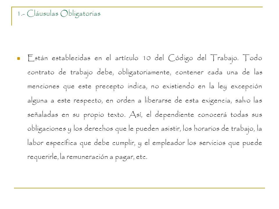 1.- Cláusulas Obligatorias