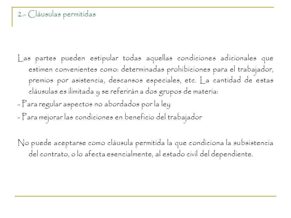 2.- Cláusulas permitidas