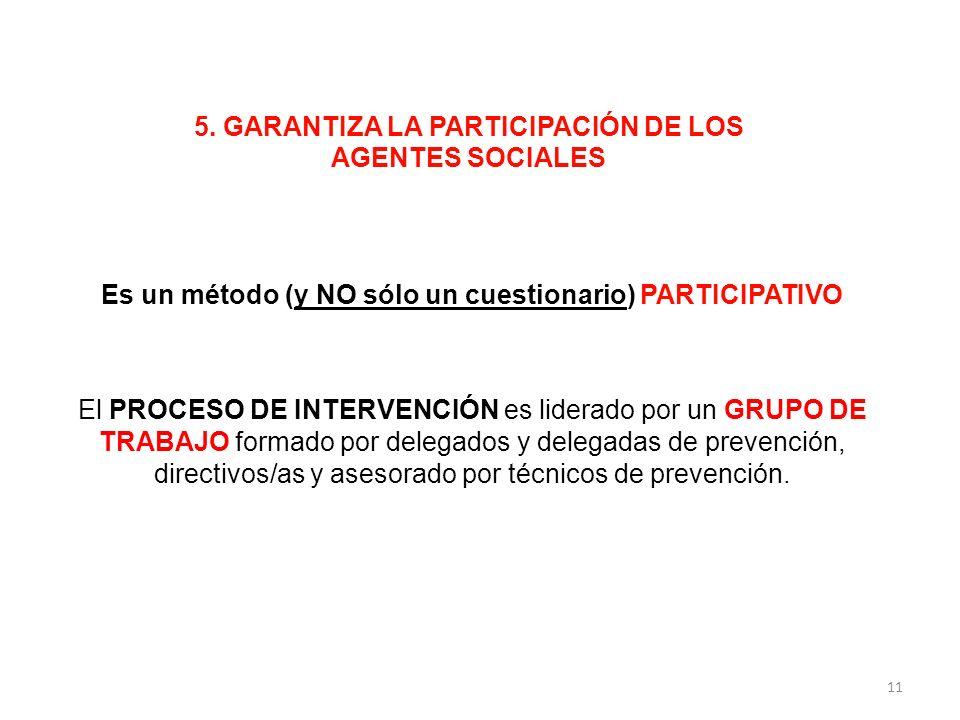 5. GARANTIZA LA PARTICIPACIÓN DE LOS AGENTES SOCIALES